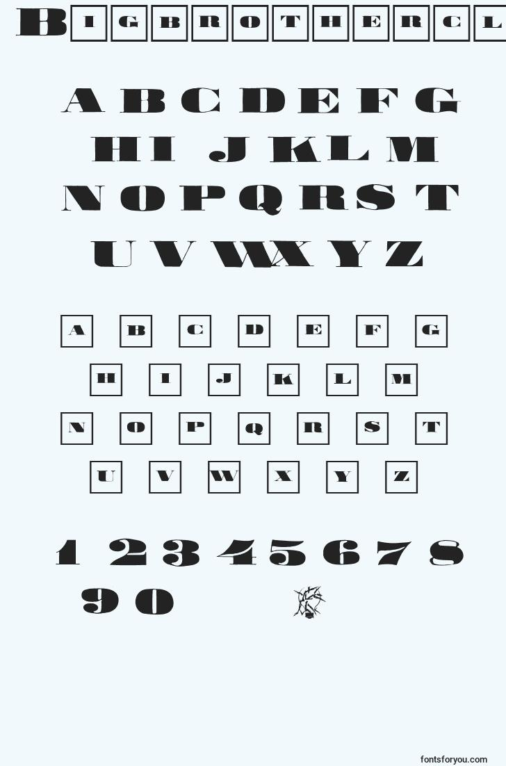 characters of bigbrotherclassizism font, letter of bigbrotherclassizism font, alphabet of  bigbrotherclassizism font