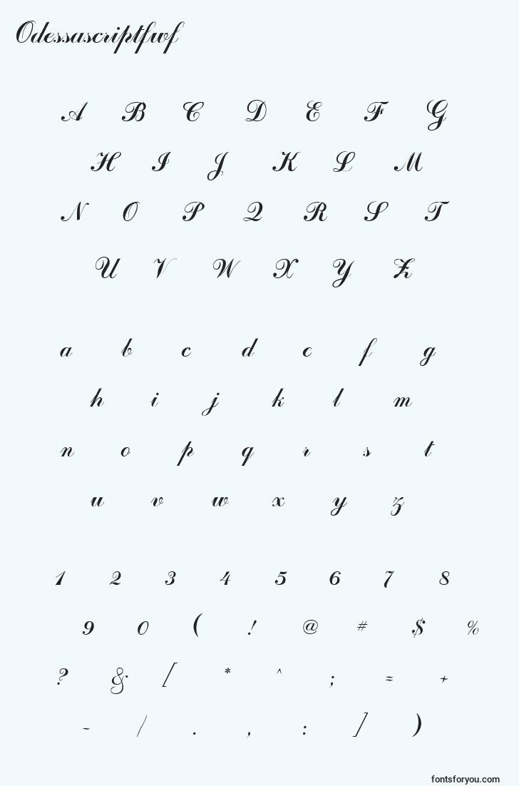 characters of odessascriptfwf font, letter of odessascriptfwf font, alphabet of  odessascriptfwf font