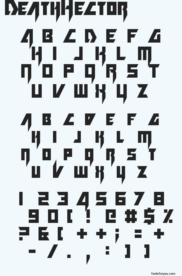 characters of deathhector font, letter of deathhector font, alphabet of  deathhector font