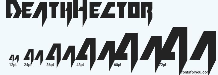 sizes of deathhector font, deathhector sizes
