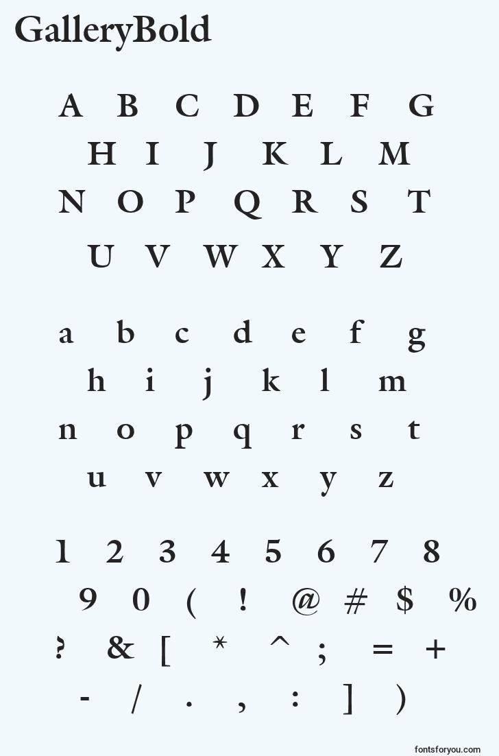 characters of gallerybold font, letter of gallerybold font, alphabet of  gallerybold font