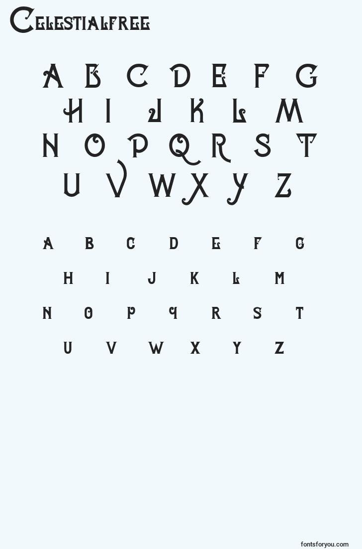 characters of celestialfree font, letter of celestialfree font, alphabet of  celestialfree font