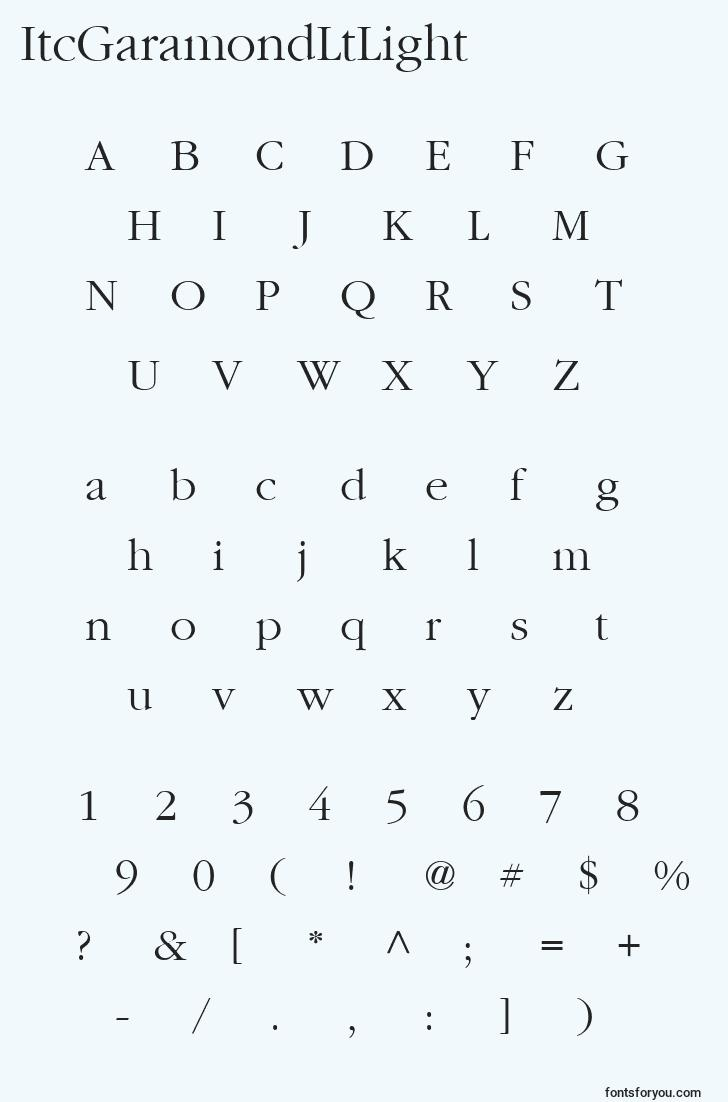 characters of itcgaramondltlight font, letter of itcgaramondltlight font, alphabet of  itcgaramondltlight font