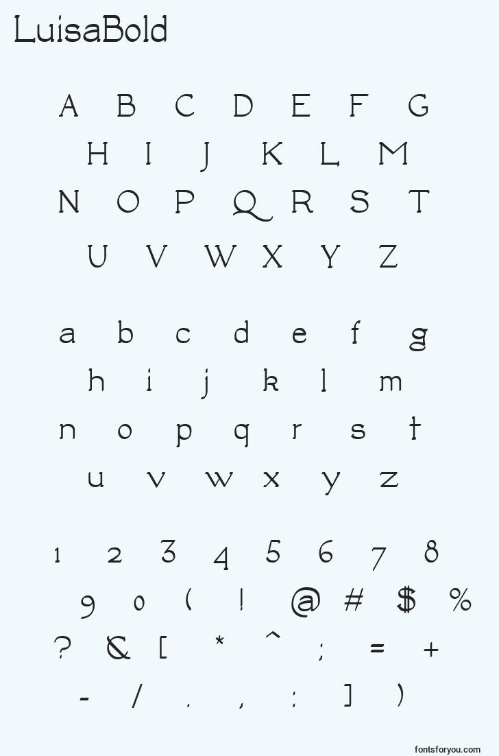 characters of luisabold font, letter of luisabold font, alphabet of  luisabold font