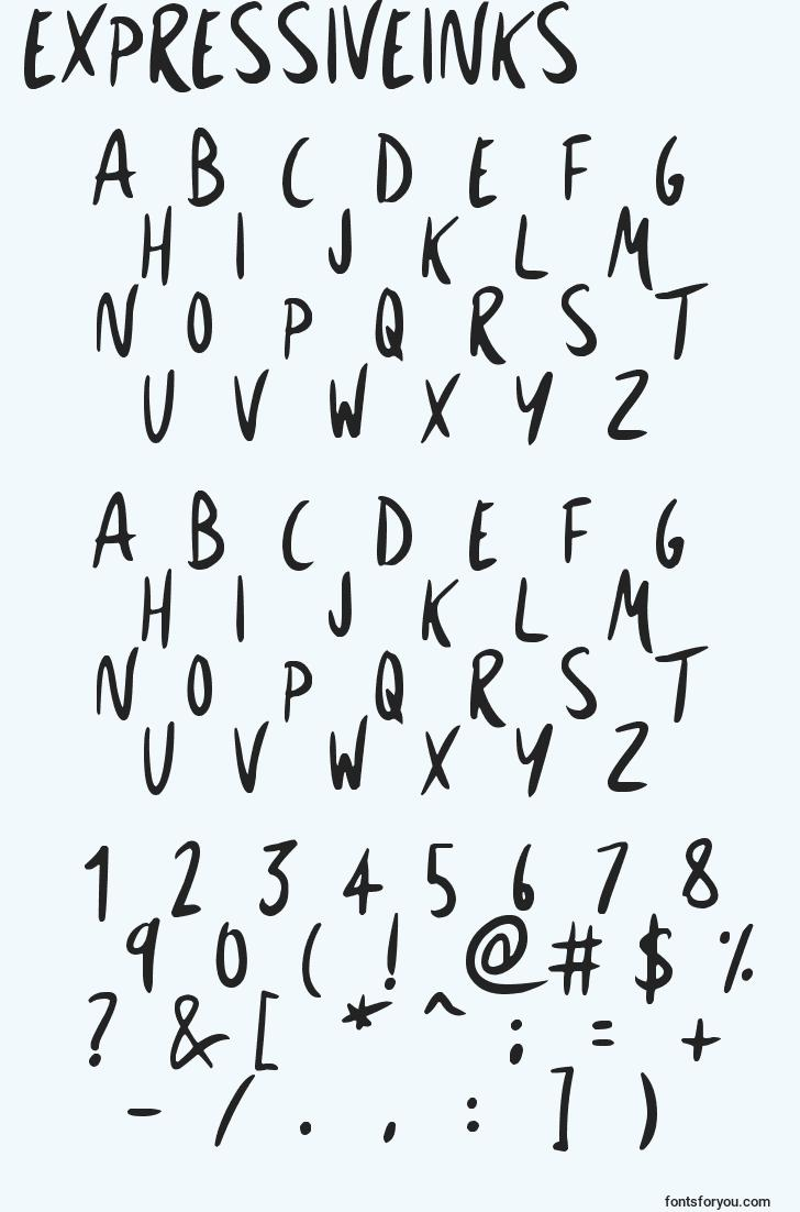 characters of expressiveinks font, letter of expressiveinks font, alphabet of  expressiveinks font
