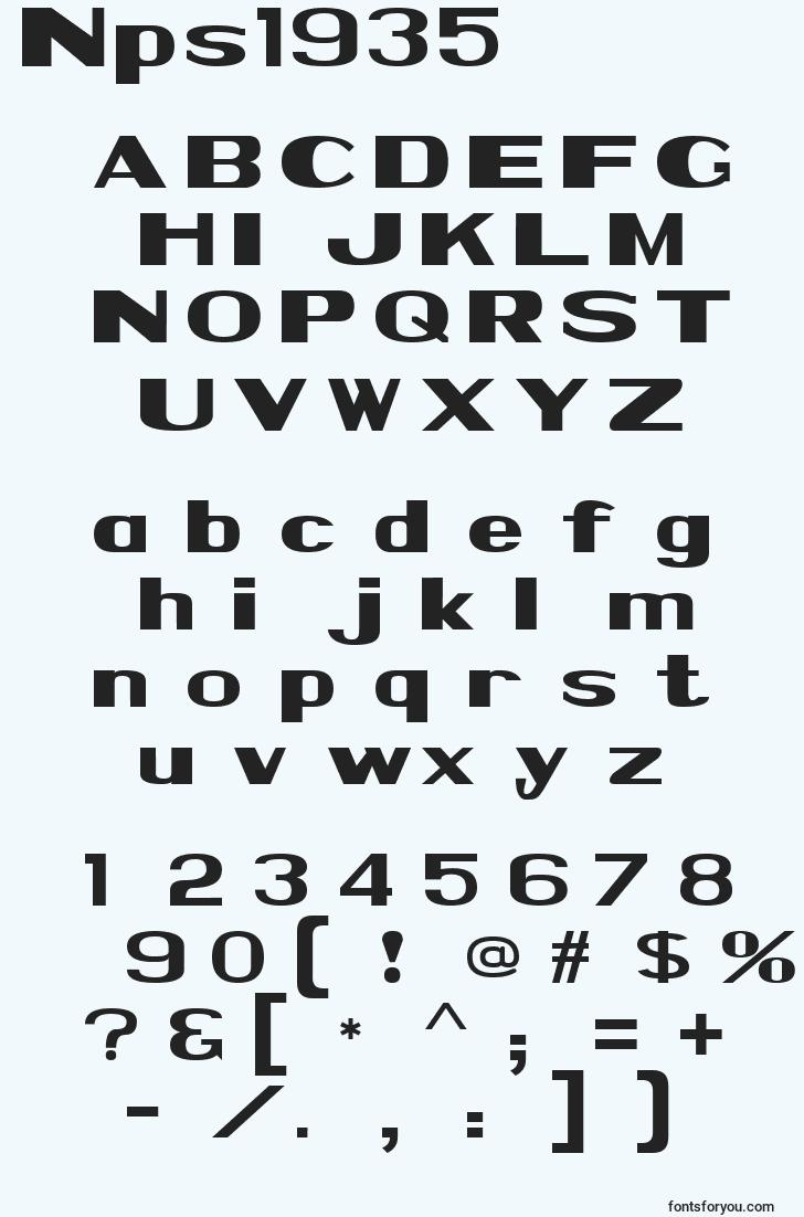 characters of nps1935 font, letter of nps1935 font, alphabet of  nps1935 font