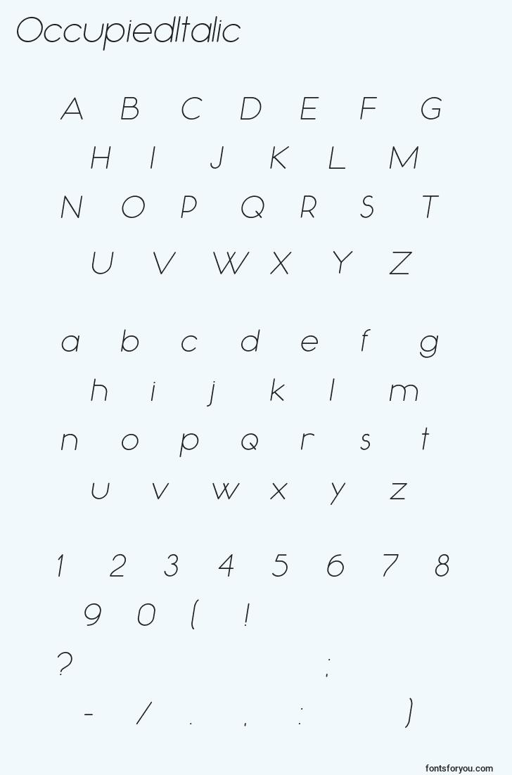 characters of occupieditalic font, letter of occupieditalic font, alphabet of  occupieditalic font