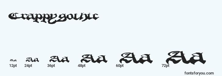 sizes of crappygothic font, crappygothic sizes
