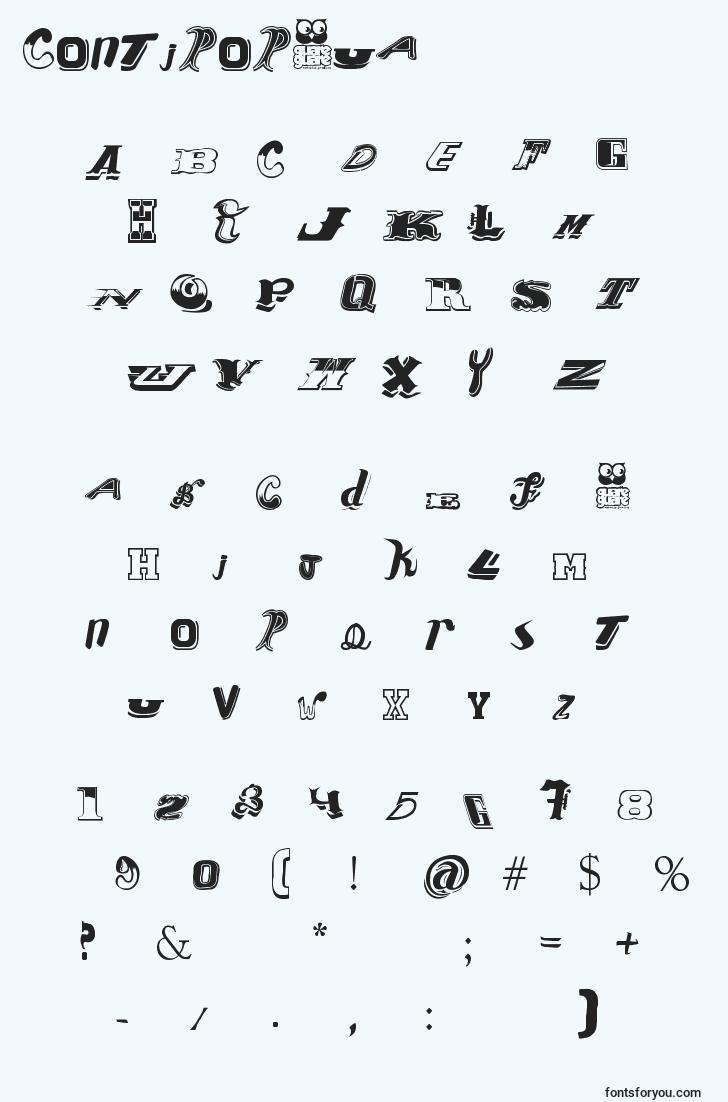 characters of contipopgua font, letter of contipopgua font, alphabet of  contipopgua font