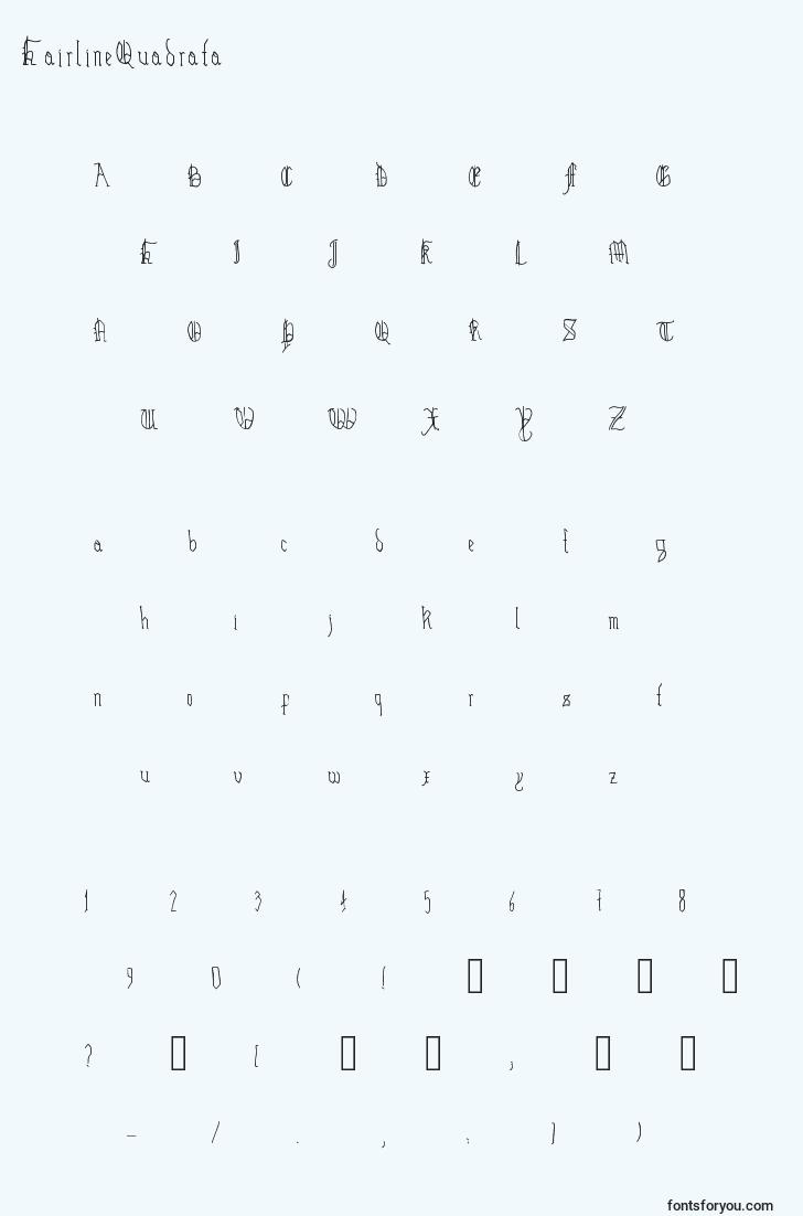 characters of hairlinequadrata font, letter of hairlinequadrata font, alphabet of  hairlinequadrata font