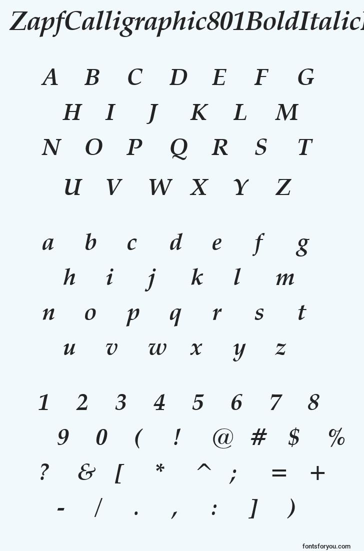 characters of zapfcalligraphic801bolditalicbt font, letter of zapfcalligraphic801bolditalicbt font, alphabet of  zapfcalligraphic801bolditalicbt font