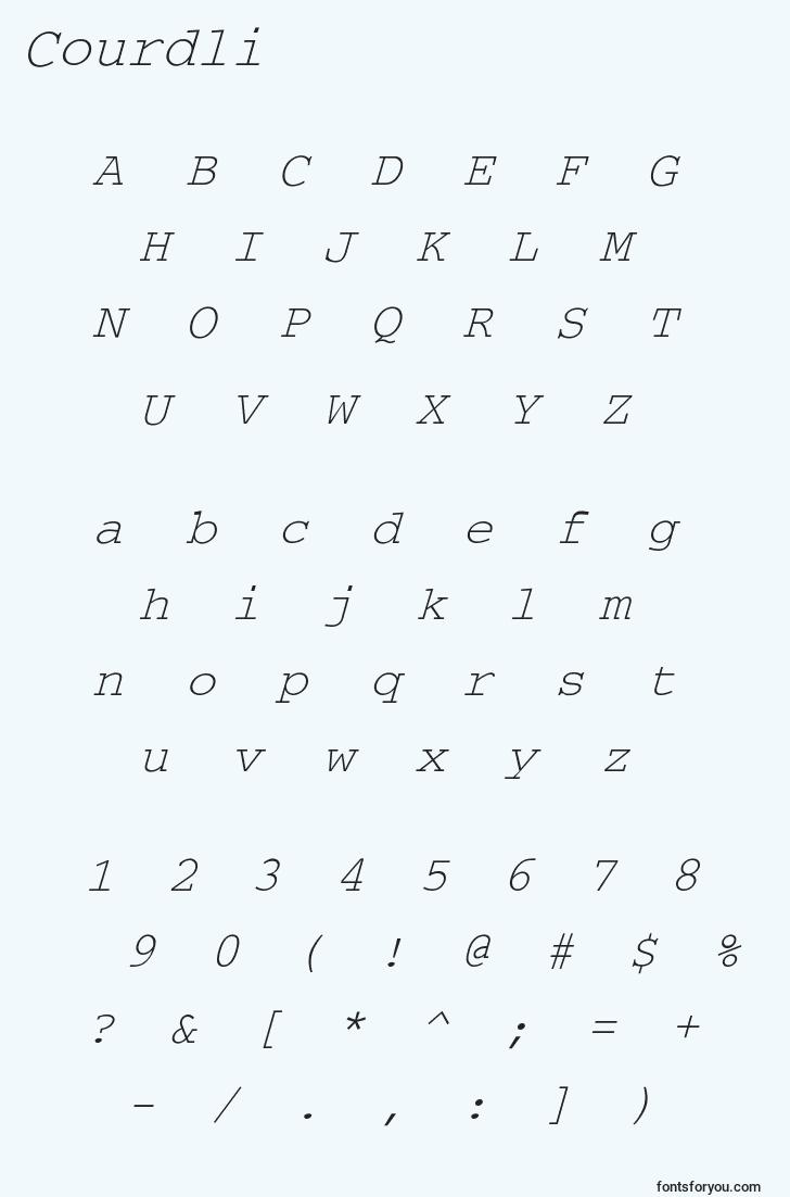 characters of courdli font, letter of courdli font, alphabet of  courdli font