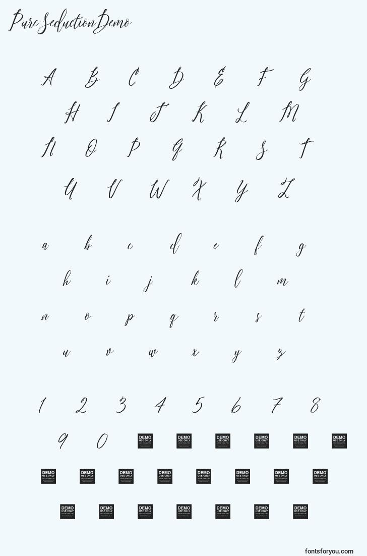 characters of pureseductiondemo font, letter of pureseductiondemo font, alphabet of  pureseductiondemo font