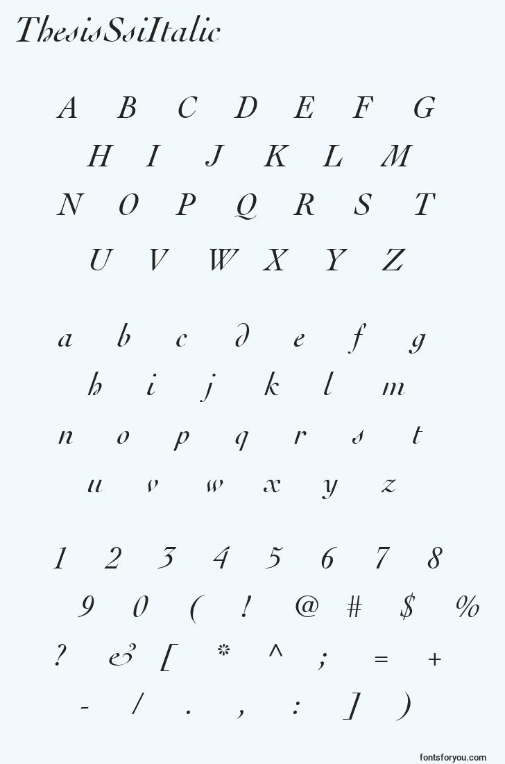 characters of thesisssiitalic font, letter of thesisssiitalic font, alphabet of  thesisssiitalic font