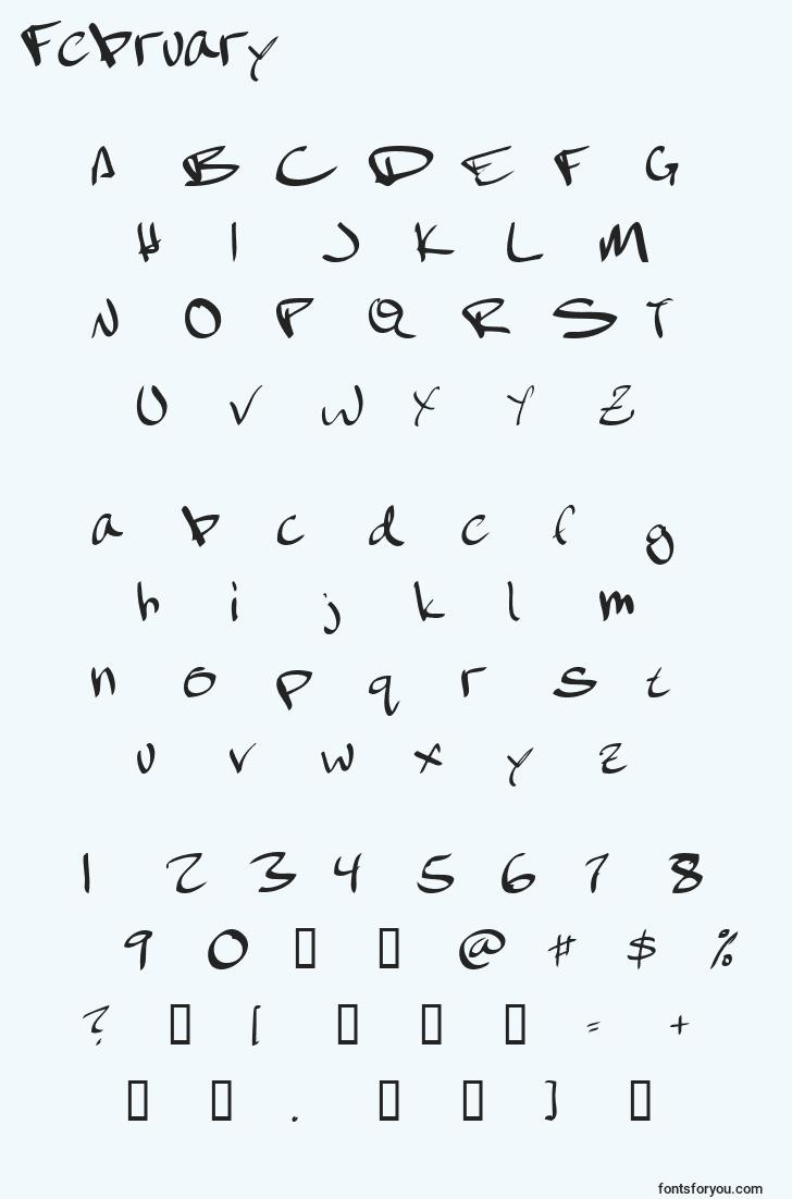 characters of february font, letter of february font, alphabet of  february font