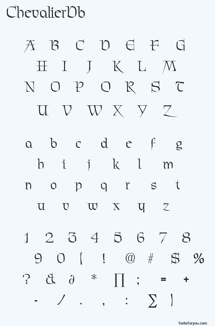characters of chevalierdb font, letter of chevalierdb font, alphabet of  chevalierdb font