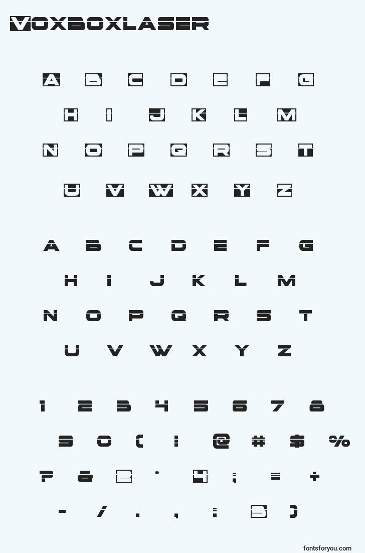 characters of voxboxlaser font, letter of voxboxlaser font, alphabet of  voxboxlaser font