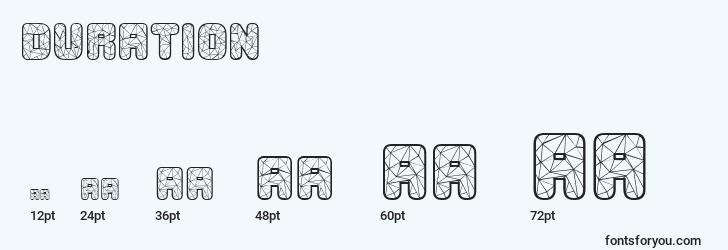 sizes of duration font, duration sizes