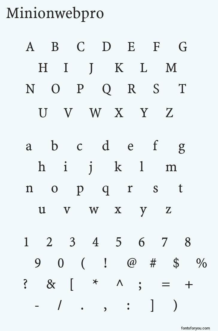 characters of minionwebpro font, letter of minionwebpro font, alphabet of  minionwebpro font