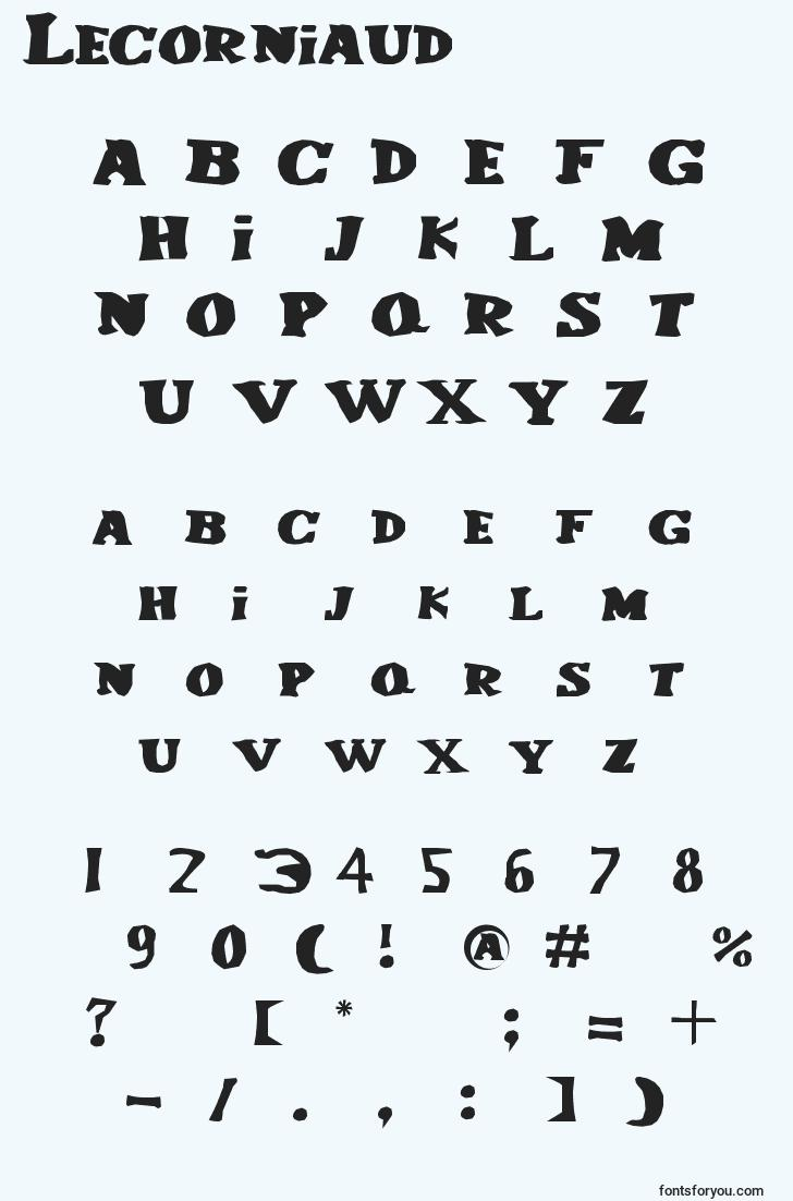 characters of lecorniaud font, letter of lecorniaud font, alphabet of  lecorniaud font