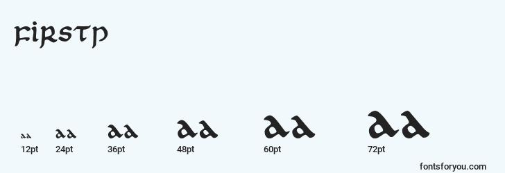 sizes of firstp font, firstp sizes