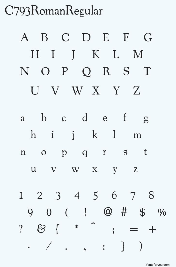 characters of c793romanregular font, letter of c793romanregular font, alphabet of  c793romanregular font