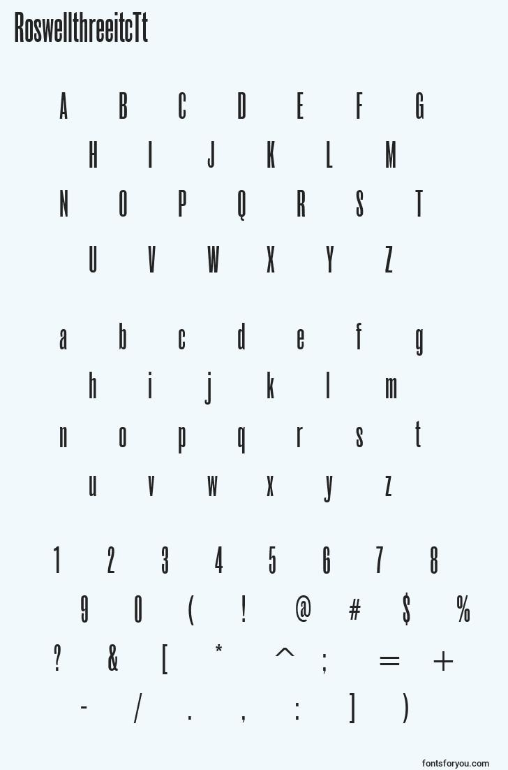 characters of roswellthreeitctt font, letter of roswellthreeitctt font, alphabet of  roswellthreeitctt font