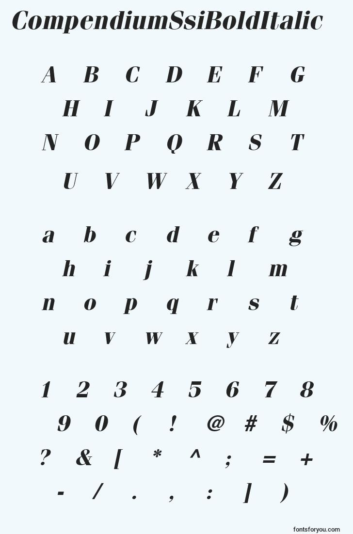 characters of compendiumssibolditalic font, letter of compendiumssibolditalic font, alphabet of  compendiumssibolditalic font