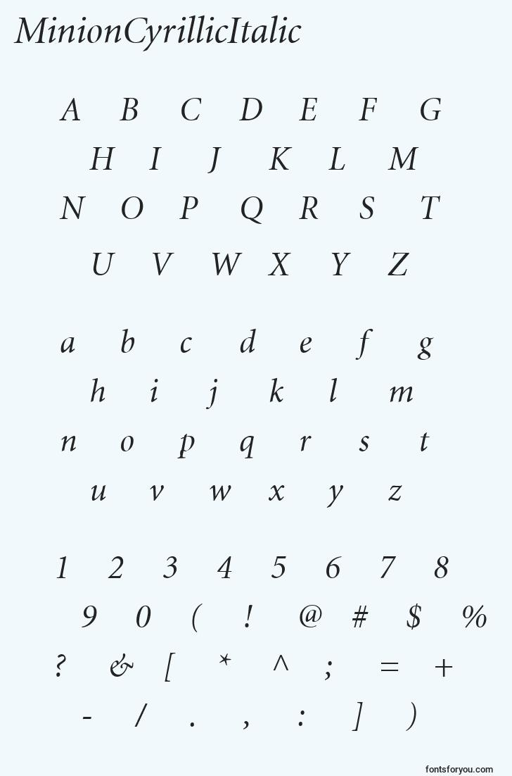 characters of minioncyrillicitalic font, letter of minioncyrillicitalic font, alphabet of  minioncyrillicitalic font