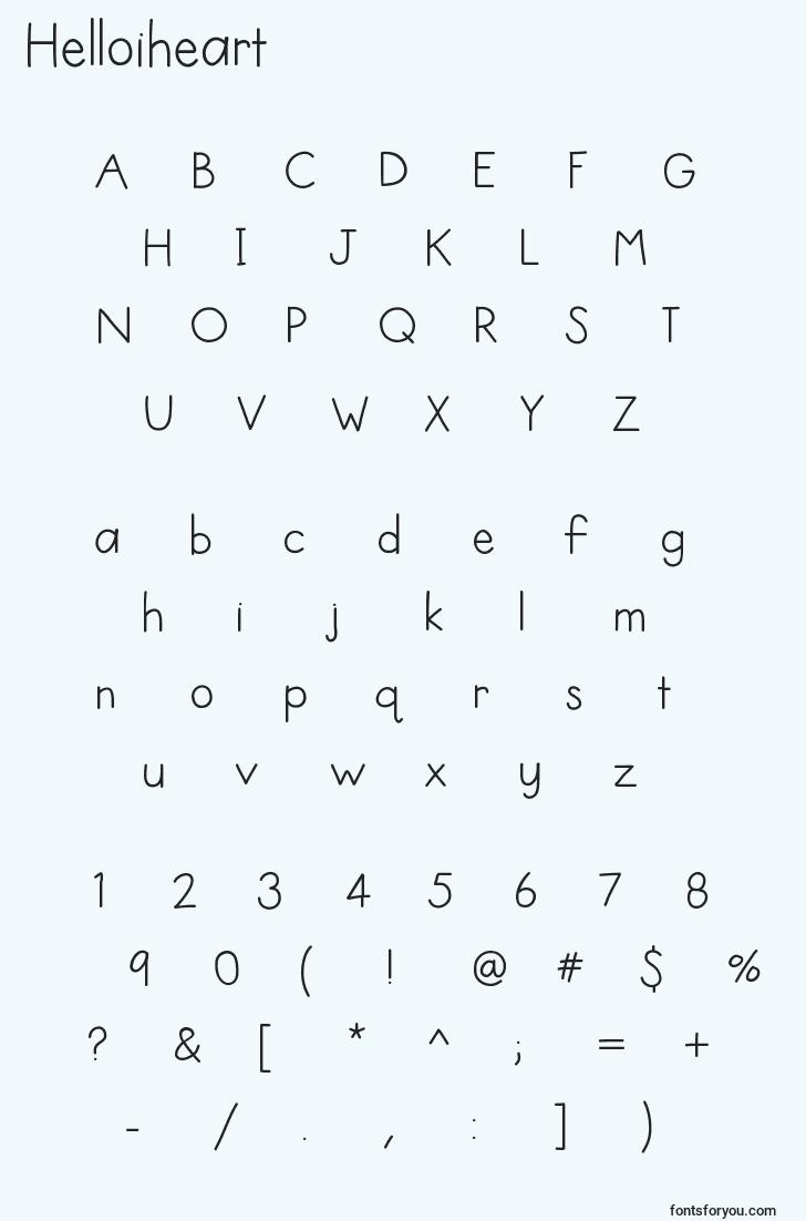 characters of helloiheart font, letter of helloiheart font, alphabet of  helloiheart font