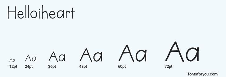 sizes of helloiheart font, helloiheart sizes