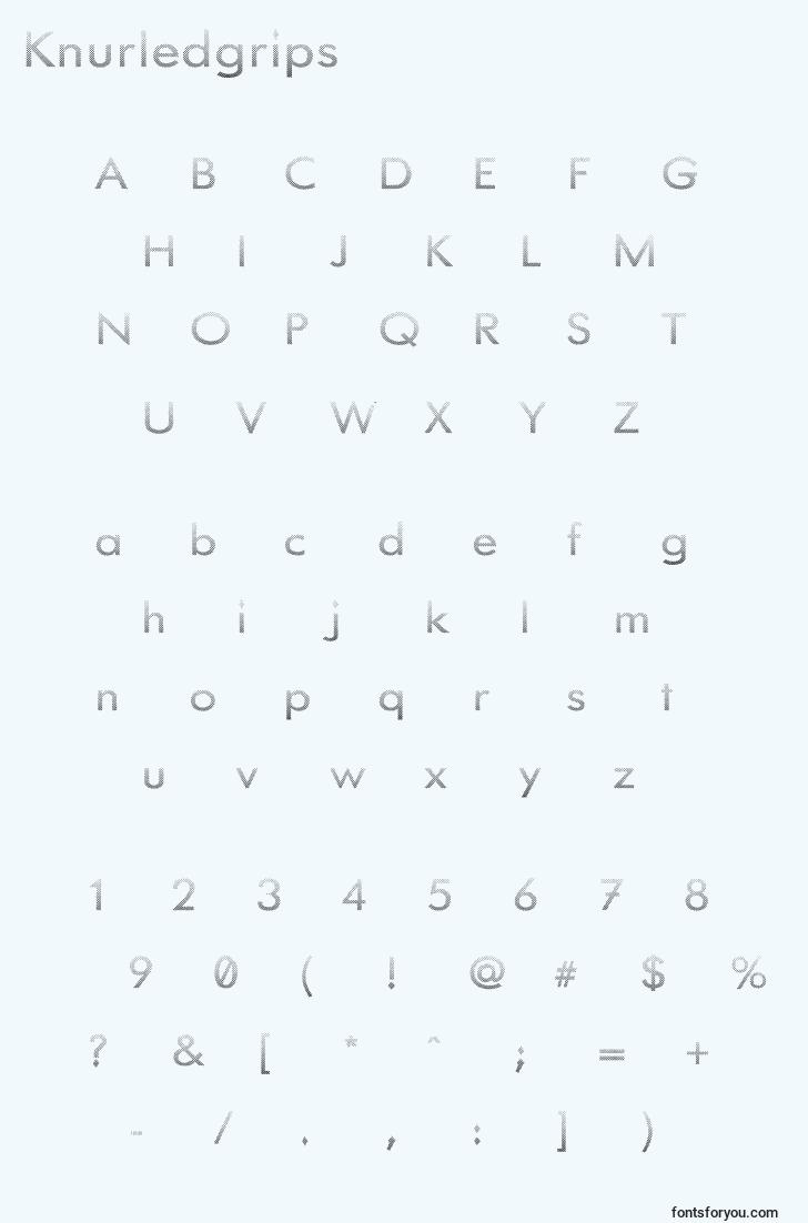 characters of knurledgrips font, letter of knurledgrips font, alphabet of  knurledgrips font