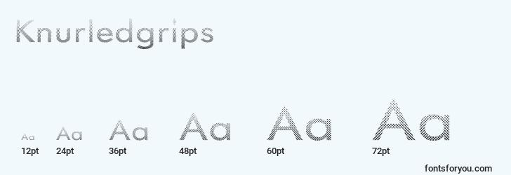 sizes of knurledgrips font, knurledgrips sizes