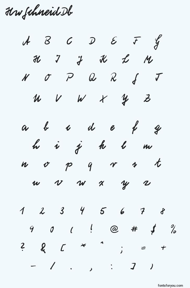 characters of hwschneiddb font, letter of hwschneiddb font, alphabet of  hwschneiddb font