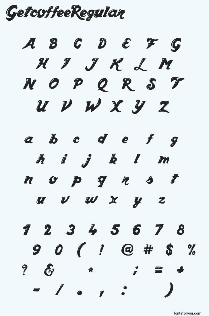 characters of getcoffeeregular font, letter of getcoffeeregular font, alphabet of  getcoffeeregular font