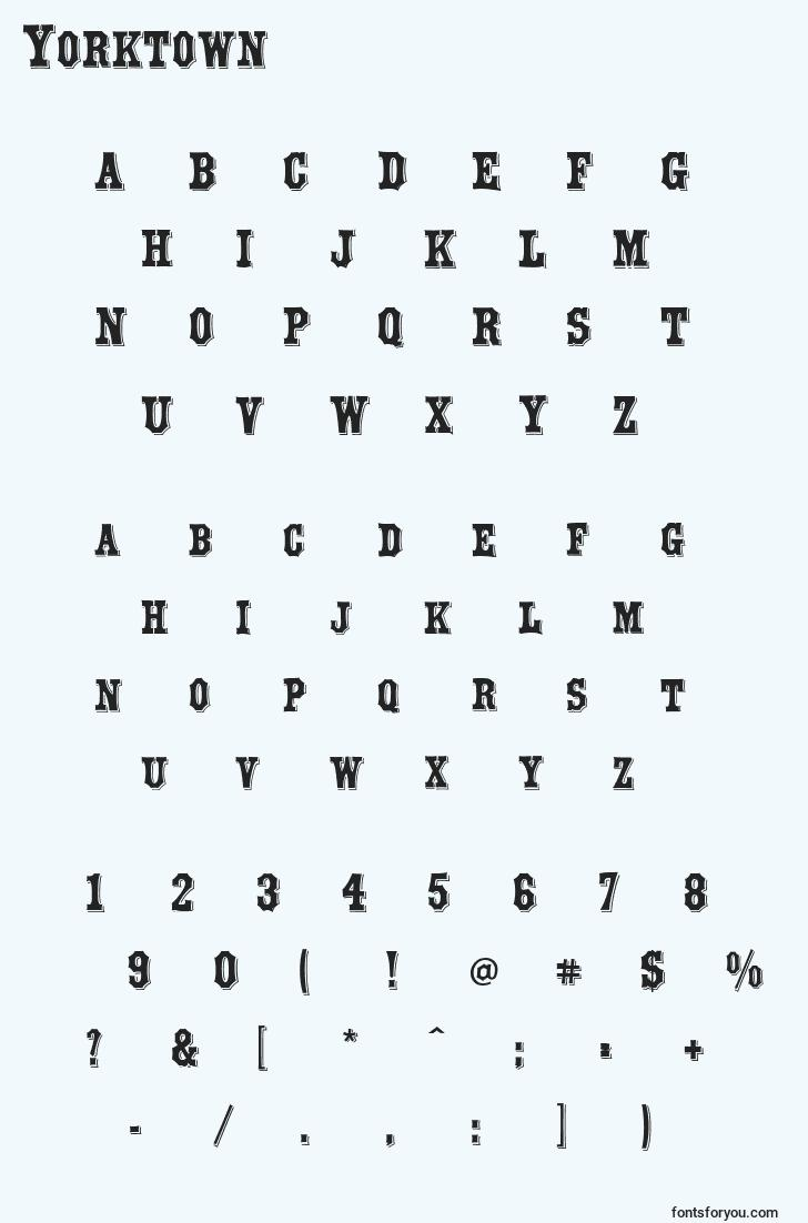 characters of yorktown font, letter of yorktown font, alphabet of  yorktown font
