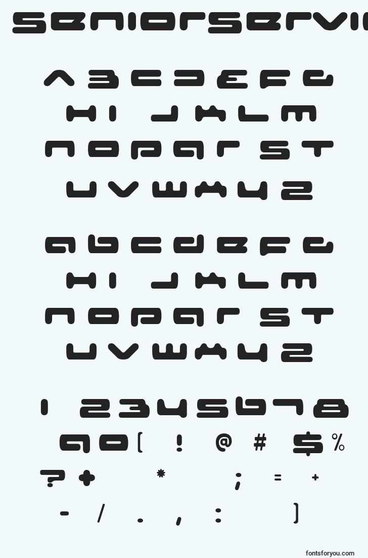 characters of seniorservice font, letter of seniorservice font, alphabet of  seniorservice font