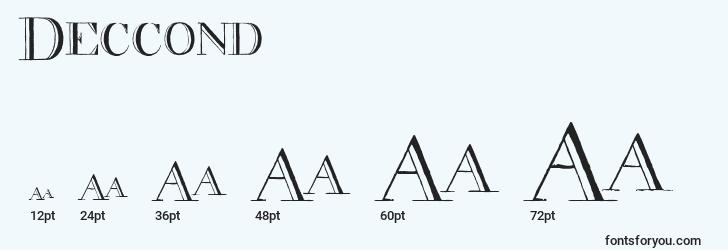 sizes of deccond font, deccond sizes