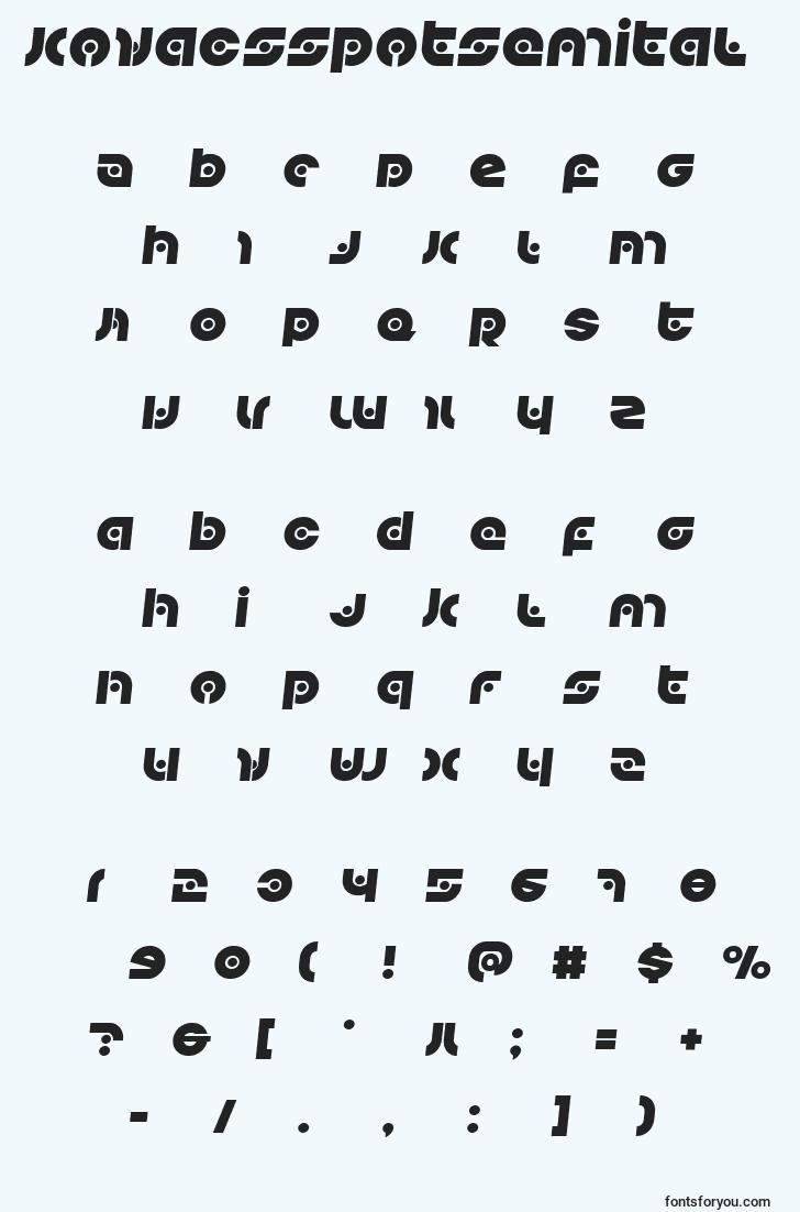 characters of kovacsspotsemital font, letter of kovacsspotsemital font, alphabet of  kovacsspotsemital font
