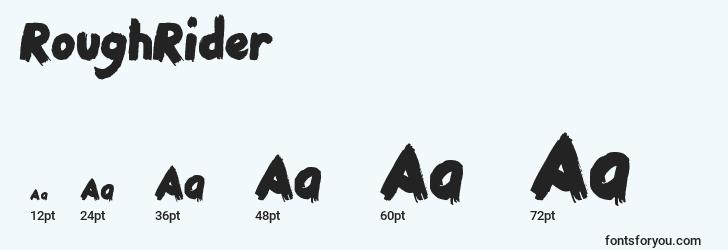 sizes of roughrider font, roughrider sizes