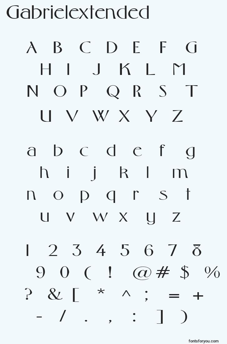 characters of gabrielextended font, letter of gabrielextended font, alphabet of  gabrielextended font