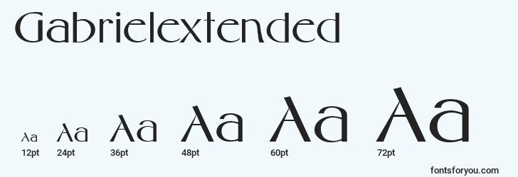 sizes of gabrielextended font, gabrielextended sizes