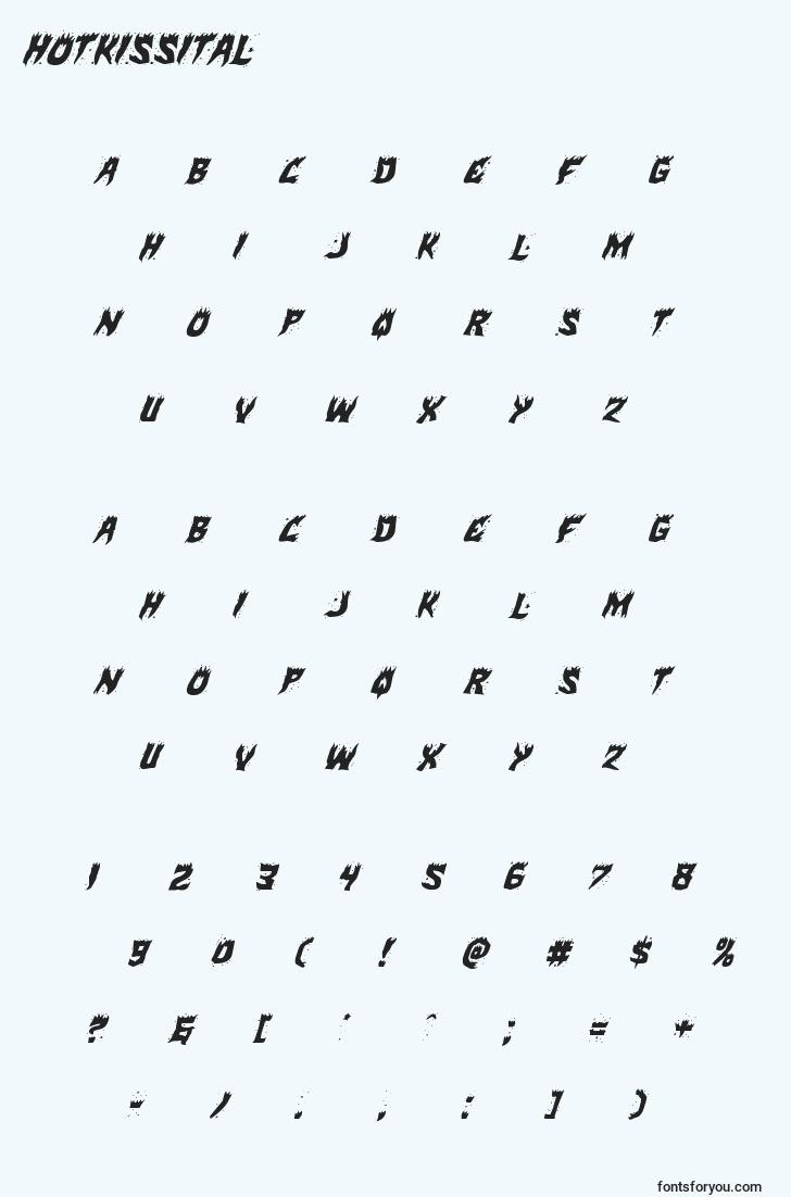 characters of hotkissital font, letter of hotkissital font, alphabet of  hotkissital font