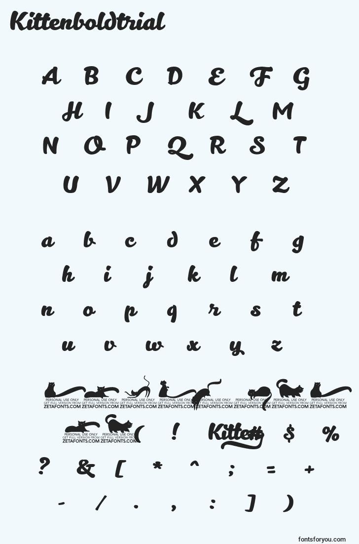 characters of kittenboldtrial font, letter of kittenboldtrial font, alphabet of  kittenboldtrial font