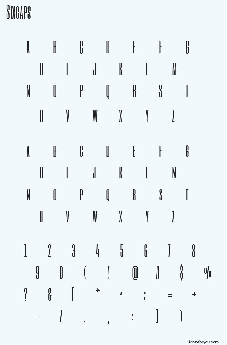 characters of sixcaps font, letter of sixcaps font, alphabet of  sixcaps font