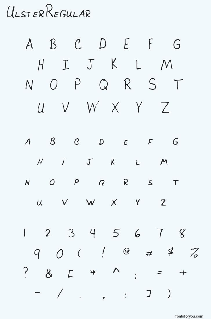 characters of ulsterregular font, letter of ulsterregular font, alphabet of  ulsterregular font