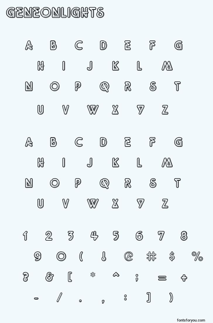characters of geneonlights font, letter of geneonlights font, alphabet of  geneonlights font
