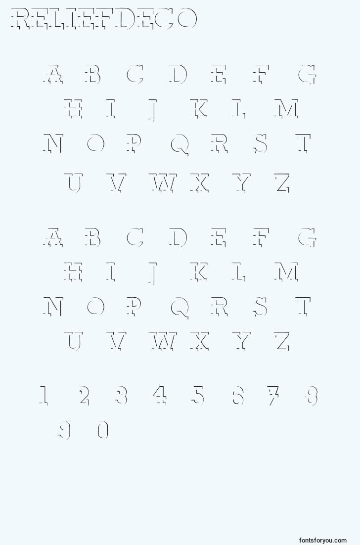 characters of reliefdeco font, letter of reliefdeco font, alphabet of  reliefdeco font