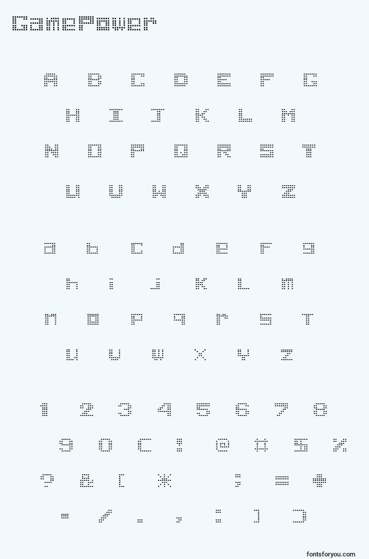 characters of gamepower font, letter of gamepower font, alphabet of  gamepower font