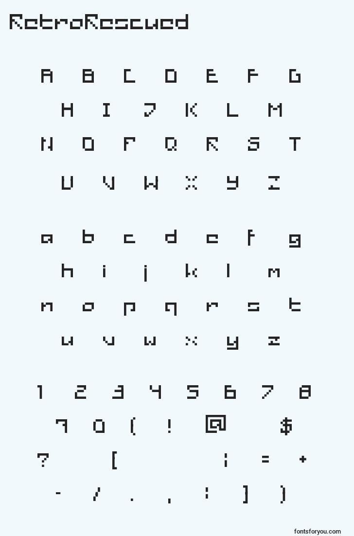 characters of retrorescued font, letter of retrorescued font, alphabet of  retrorescued font